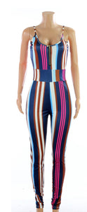 Stripe jumpsuit-blue