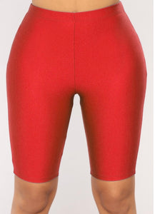 Nylon Biker shorts-red