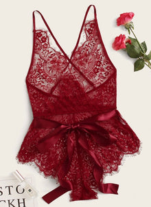 Red, lace Bodysuit