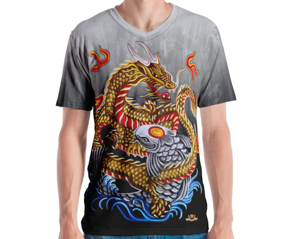 Dragon and Koi Fish Fire & Water Men's Shirt
