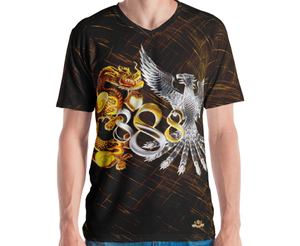 Golden Dragon and Platinum Phoenix Infinity Triple 888 Prosperity Men's Shirt