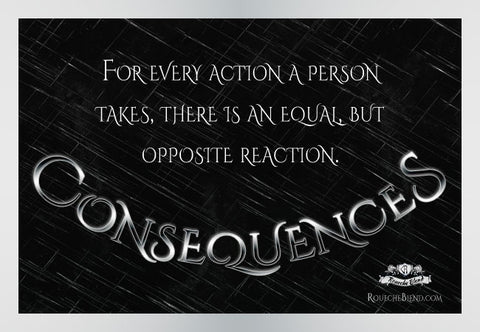 For every action a person takes there is an equal but opposite reaction. — Consequences