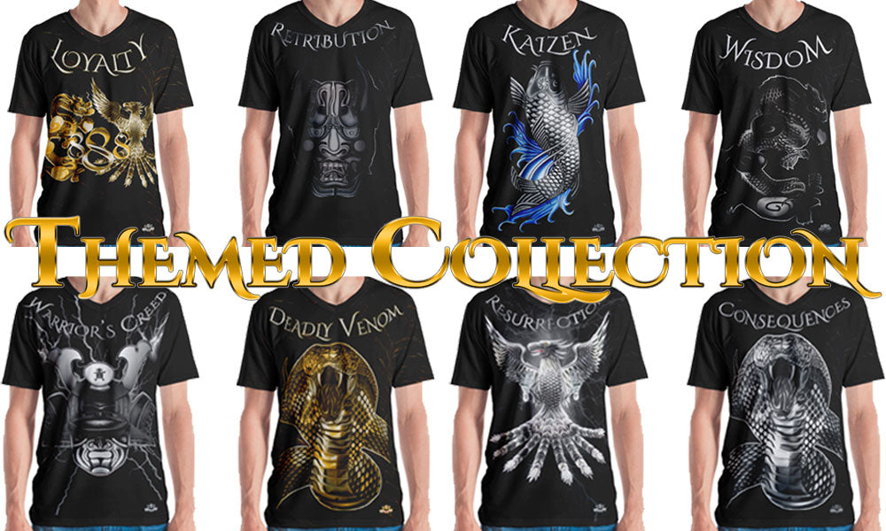 Men's Loyalty, Retribution, Kaizen, Wisdom, Warrior's Creed, Deadly Venom, Resurrection, Consequences Shirt Collection - Dragon, Phoenix, Koi, Samurai Helmet, Cobra Snake