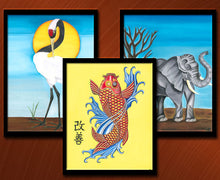 Load image into Gallery viewer, Tri-Harmony Art Print Set - Crane, Elephant, Koi