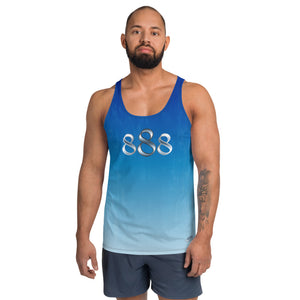 Faded Blue Wear it Strong 888 Mens Tank Top
