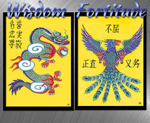 Load image into Gallery viewer, Wisdom & Fortitude - Dragon & Phoenix Art Print Set