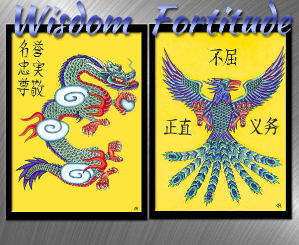 Wisdom & Fortitude - Dragon & Phoenix Art Print Set