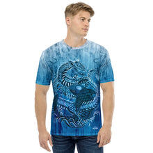 Load image into Gallery viewer, Dragon and Koi Teal Blue and White Fade Men's T-shirt