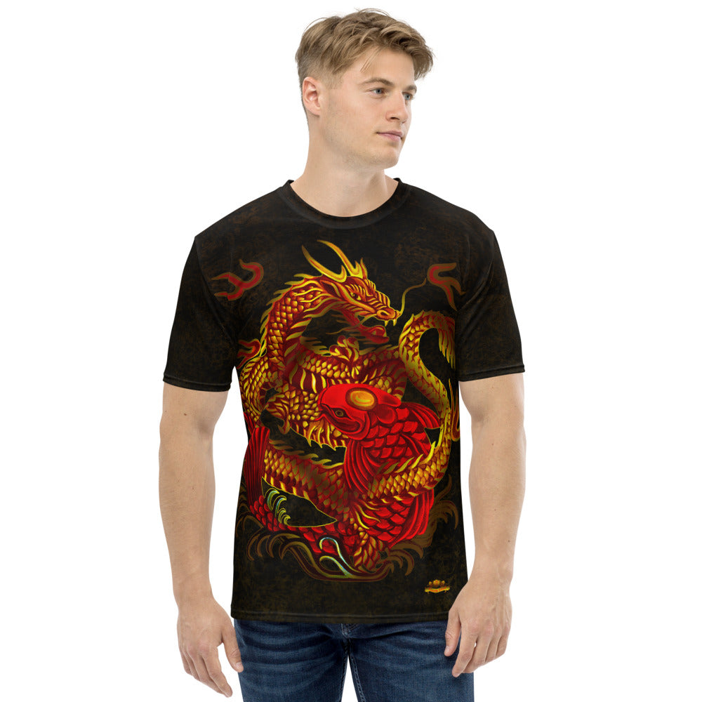 Dragon and Koi Red and Gold Black Men's T-shirt