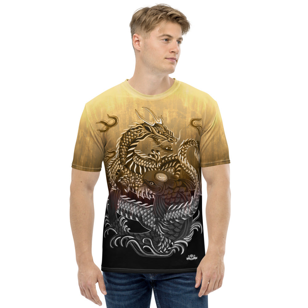 Dragon and Koi Cream Brown Fade Men's T-shirt