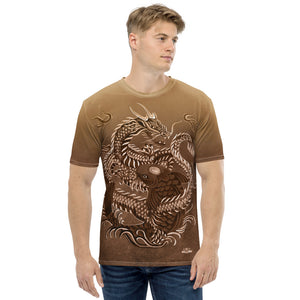 Dragon and Koi Brown and White Fade Men's T-shirt
