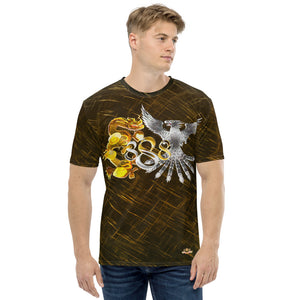 Dragon and Phoenix Infinity Silver Gold Patterned Men's T-shirt
