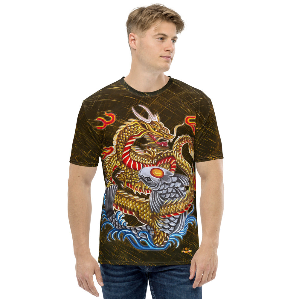 Dragon and Koi Gold Silver - Gold Patterned Men's T-shirt