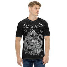 Load image into Gallery viewer, Success Dragon & Koi Men's Black Patterned T-shirt