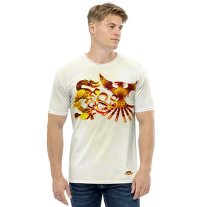 Dragon and Phoenix Infinity Red Gold 888 Patterned Men's T-shirt