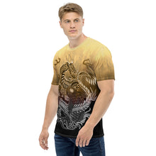 Load image into Gallery viewer, Dragon and Koi Cream Brown Fade Men's T-shirt