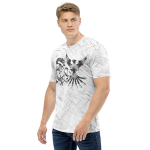 Dragon and Phoenix Infinity Chrome White Patterned Men's T-shirt
