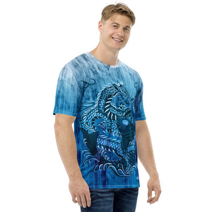 Dragon and Koi Teal Blue and White Fade Men's T-shirt
