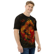 Load image into Gallery viewer, Dragon and Koi Red and Gold Black Men's T-shirt