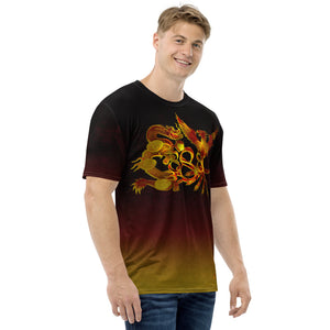 Dragon and Phoenix Infinity Red and Gold Black Fade Men's T-shirt