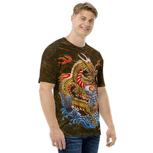 Load image into Gallery viewer, Dragon and Koi Gold Silver - Gold Patterned Men's T-shirt
