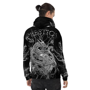 Prestige Dragon and Koi 888 Black Lightning Hoodie