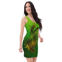 Load image into Gallery viewer, Ladies Double Golden Koi Fish Gold and Green Patterned Dress