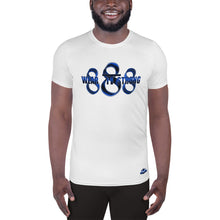 Load image into Gallery viewer, Wear it Strong 888 White & Blue Men's Athletic T-shirt