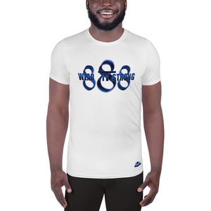 Wear it Strong 888 White & Blue Men's Athletic T-shirt