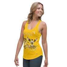 Load image into Gallery viewer, Infinity Dragon and Phoenix Loyalty 888 Ladies Gold Racerback Tank