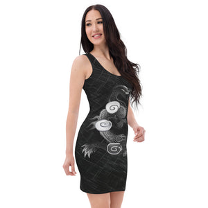 Ladies Dragon and Pearl Black & White Fitted Dress