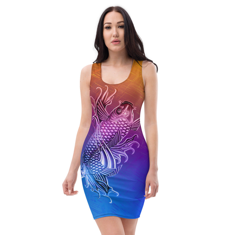 Ladies Lucky Double Koi Fish Bright Color Blend Fitted Dress
