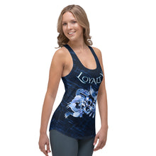 Load image into Gallery viewer, Dragon and Phoenix Loyalty 888 Ladies Blue Racerback Tank