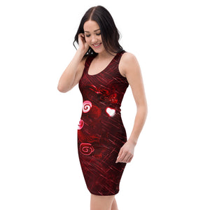 Ladies Wisdom Dragon and Pearl Fitted Red Dress