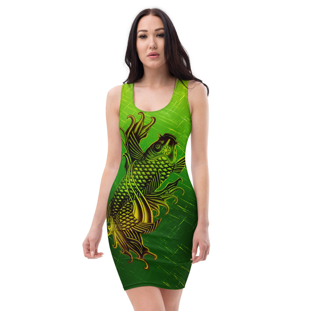 Ladies Double Golden Koi Fish Gold and Green Patterned Dress