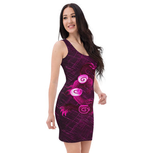 Ladies Dragon Bright Pink Patterned Dress