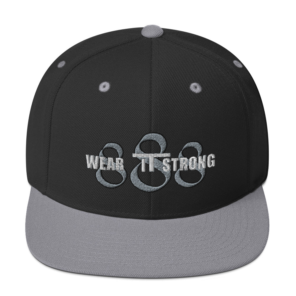 Wear it Strong 888 Black and Gray Snapback Flat Bill Hat