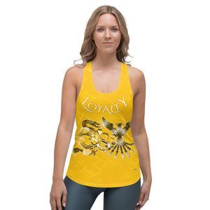 Infinity Dragon and Phoenix Loyalty 888 Ladies Gold Racerback Tank
