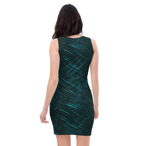 Ladies Dragon and Pearl Teal Fitted Dress