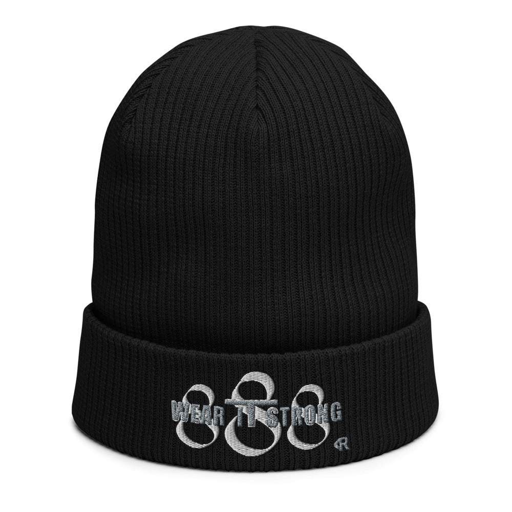 Wear it Strong 888 Organic Ribbed Cotton Beanie Hat