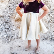Eggplant and Gold Girls Twirly Dress