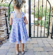 Girls Summer Twirl Dress With Pink Buses