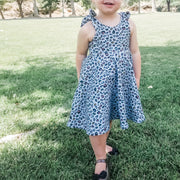 Girls Aqua Animal Print Twirl Dress
