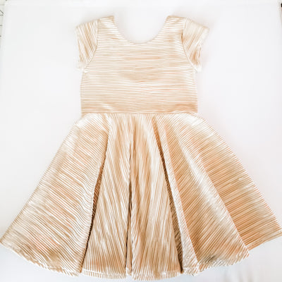 Metallic Gold Girls Twirl Dress