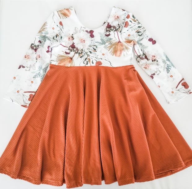 Boho Floral and Burnt Orange Toddler Dress