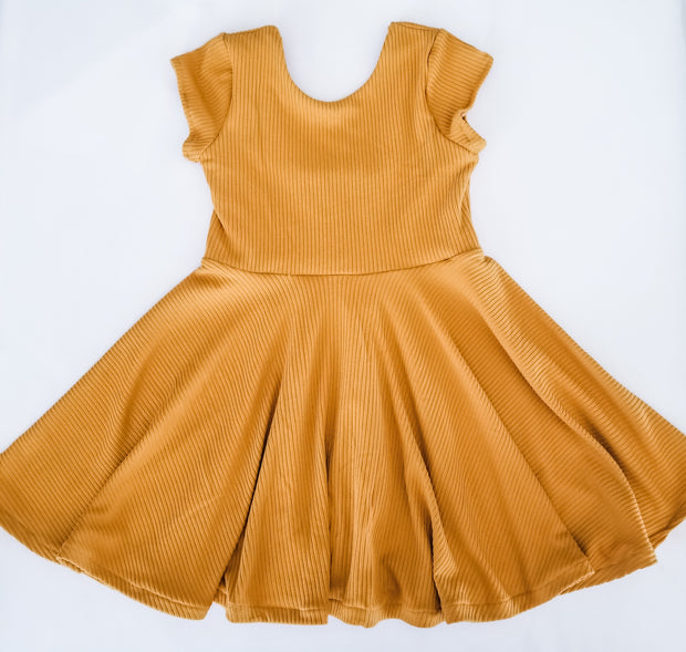 Mustard twirl dress for fall family photos