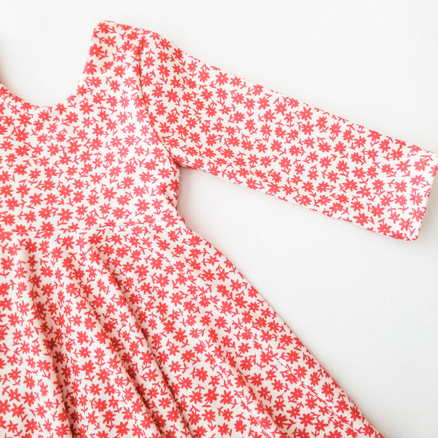 Modern Red Floral Twirl Dress
