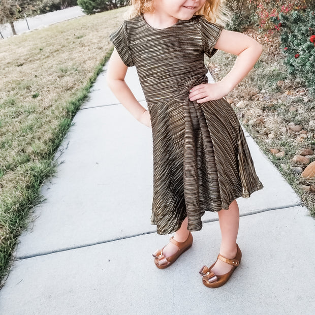 Girls Black and Gold Metallic Twirl Dress