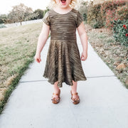 Toddler Metallic Black Twirl Dress