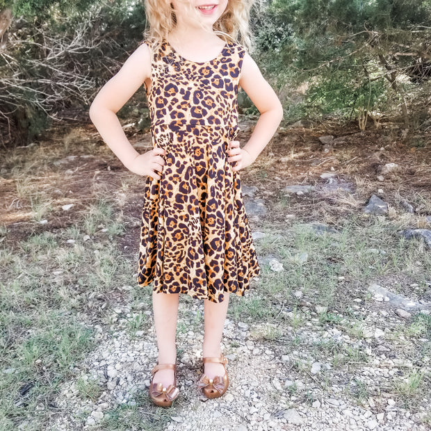 Girls Cheetah Print Summer Twirl Dress